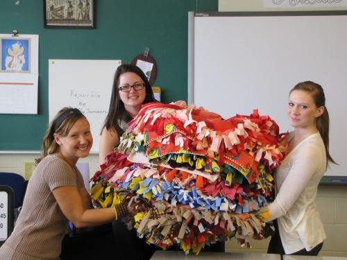 presenting blankets to Crystal Cole from DECH